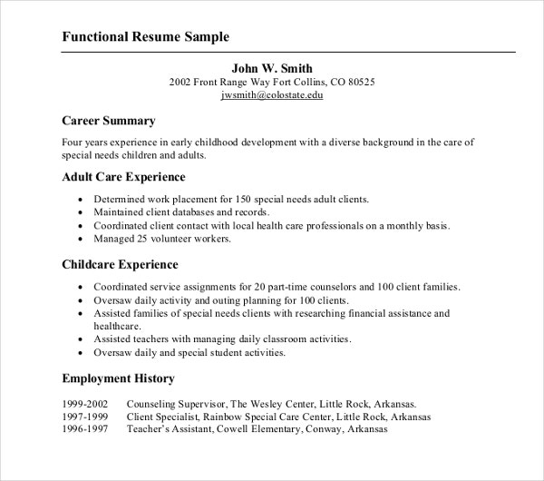 career functional resume example