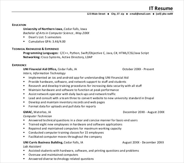 career it resume template