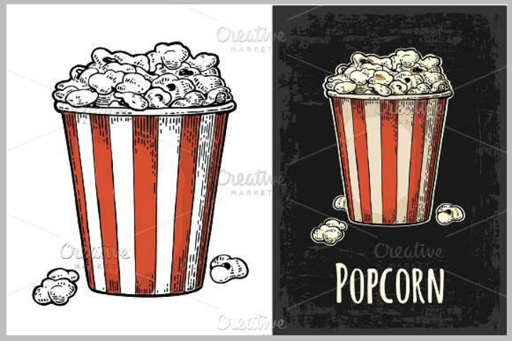 carton bucket popcorn illustration vector template