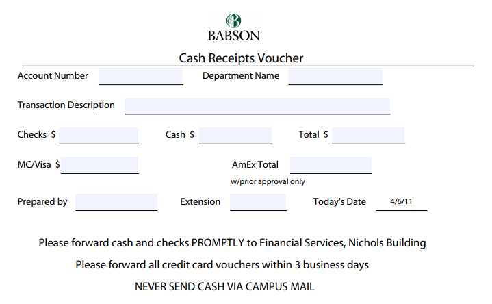 Cash Receipt Voucher Sample