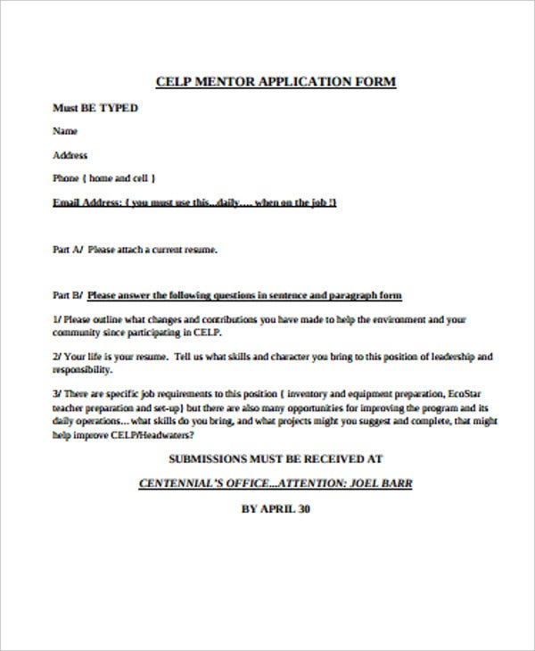 celp mentor application form