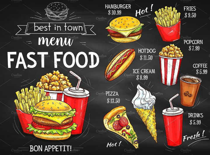 chalkboard fast food with popcorn menu template design