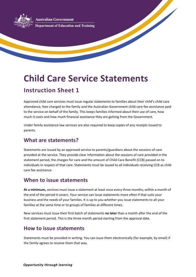 Child Care Service Statement
