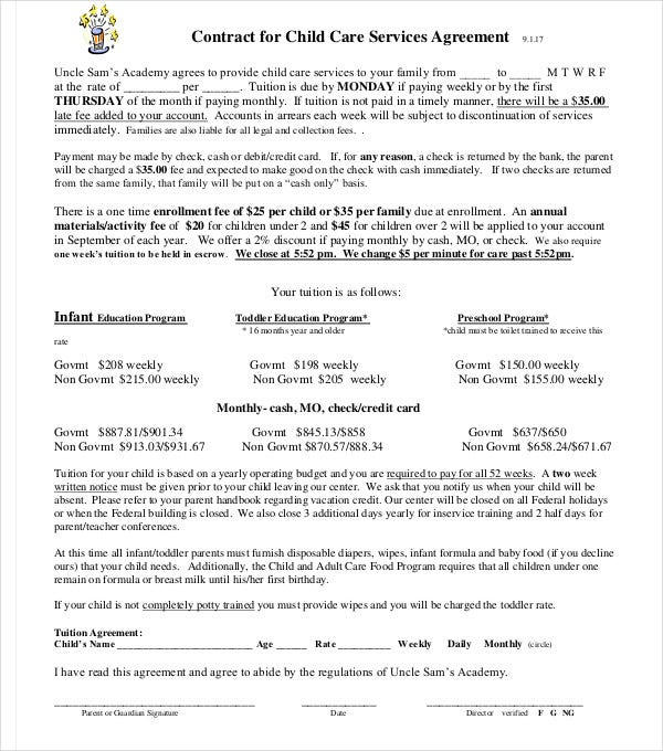 child care services agreement contract