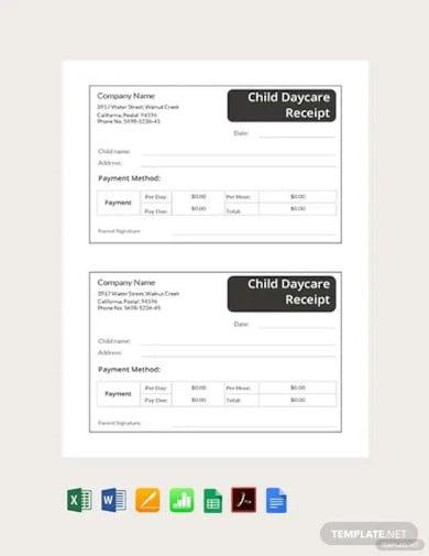 child daycare receipt template