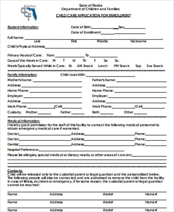 childcare application form