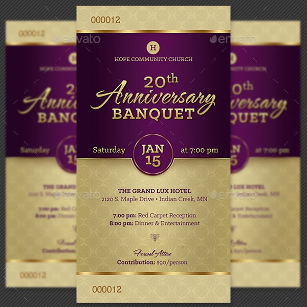 church anniversary invitation ticket