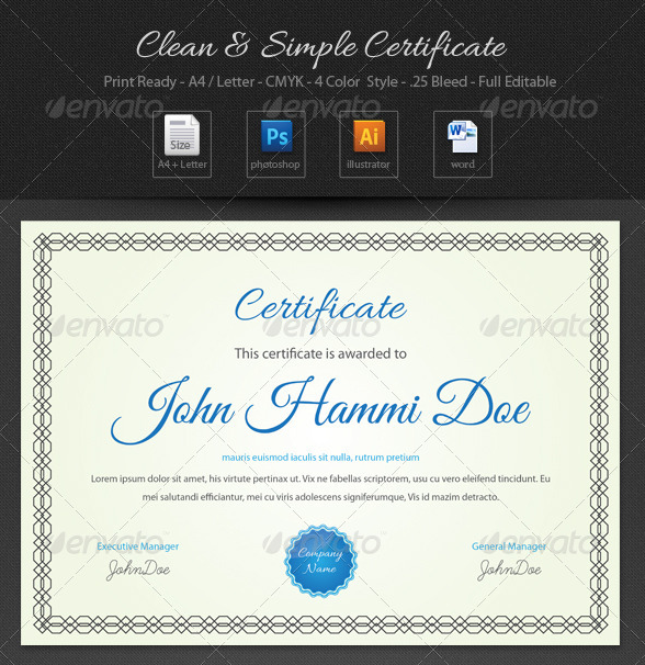 Clean and Simple Certificate