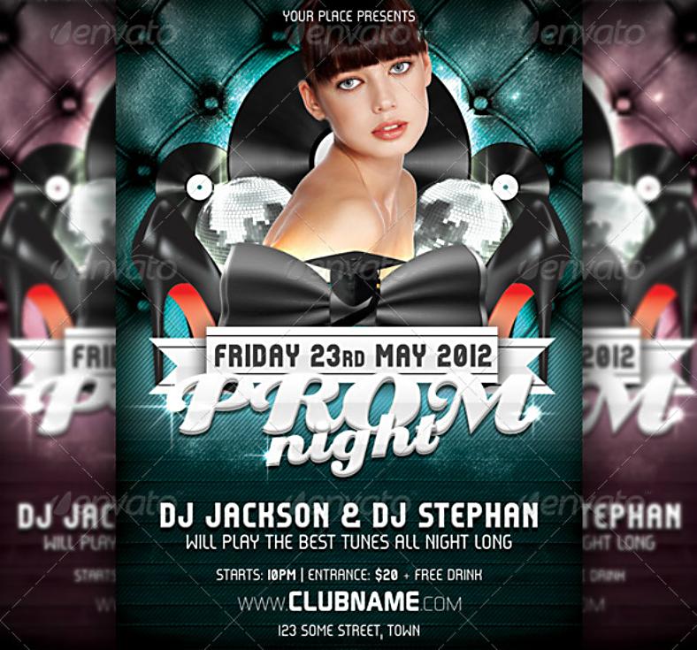 club themed prom night flyer 788x735
