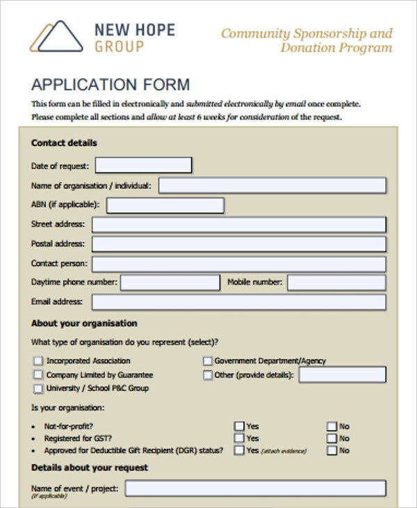 community sponsorship and donation application form