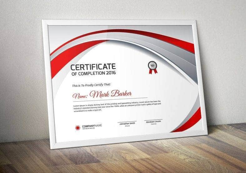 Completion Paper Certificate