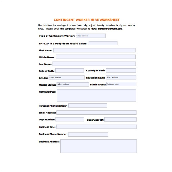 contingent work for hire worksheet