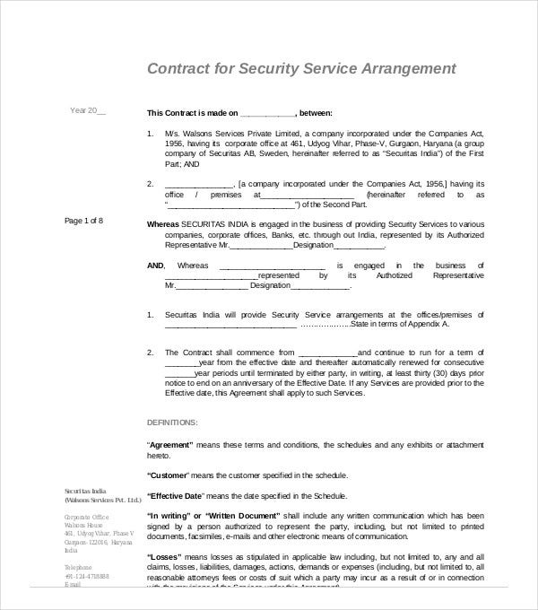 contract for security service arrangement