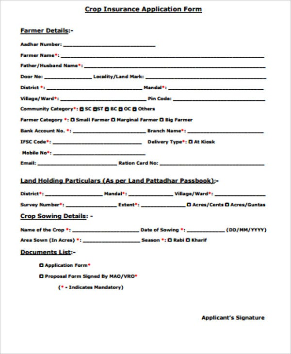 crop insurance application form