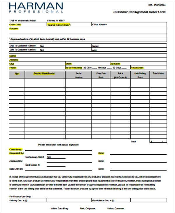 customer consignment order form