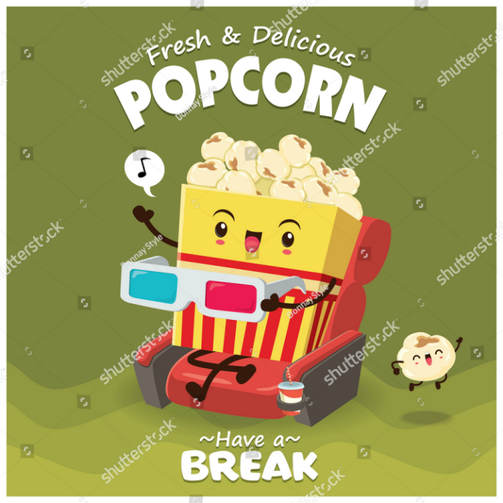 cute popcorn character menu poster design template