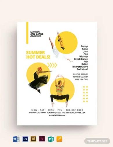 dance class studio flyer template