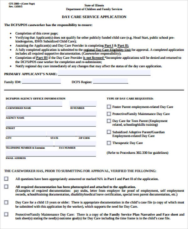 daycare services application form