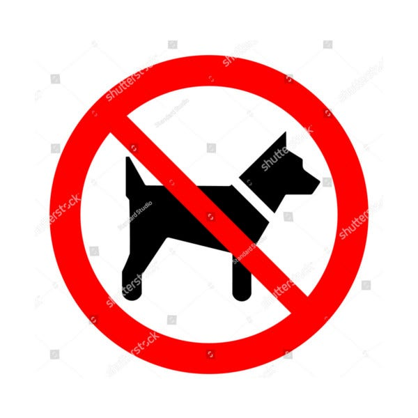 Dog Prohibition Sign