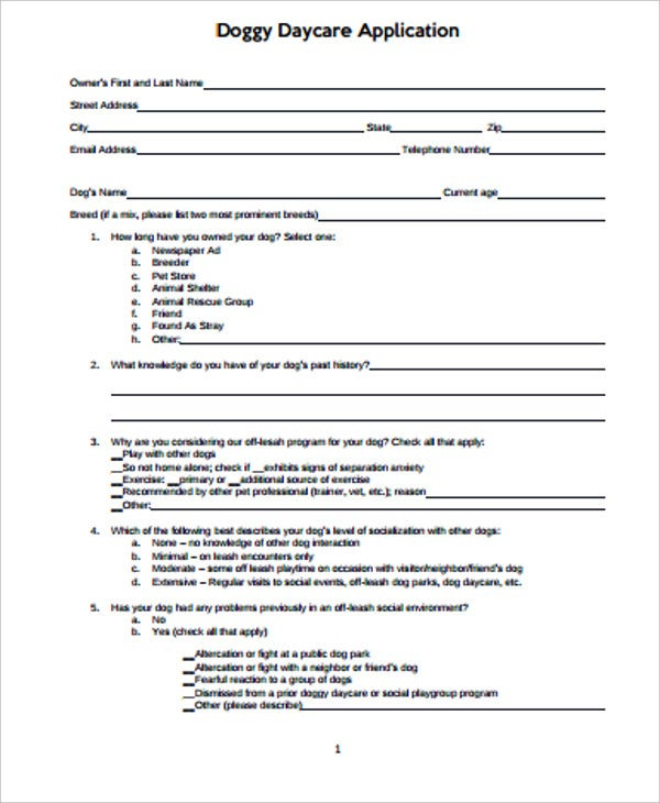 doggy daycare application form