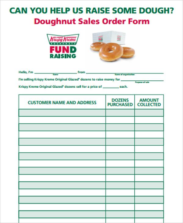 doughnut sales order form