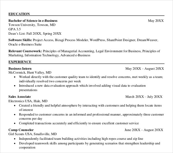 20 business resume templates pdf doc free premium templates e business resume template flashek