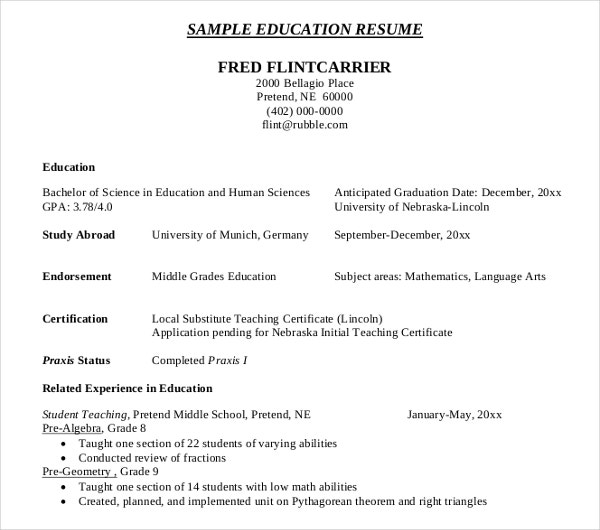 education resume sample
