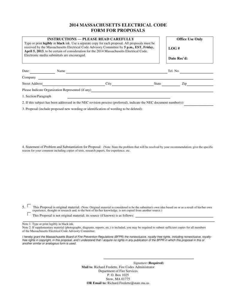 Electrical Code Form for Proposals