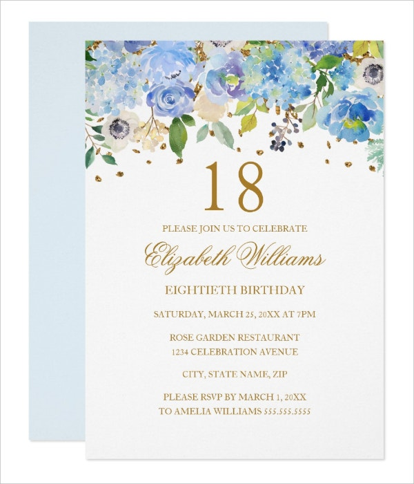 Elegant Floral 18th Birthday Invitation Template