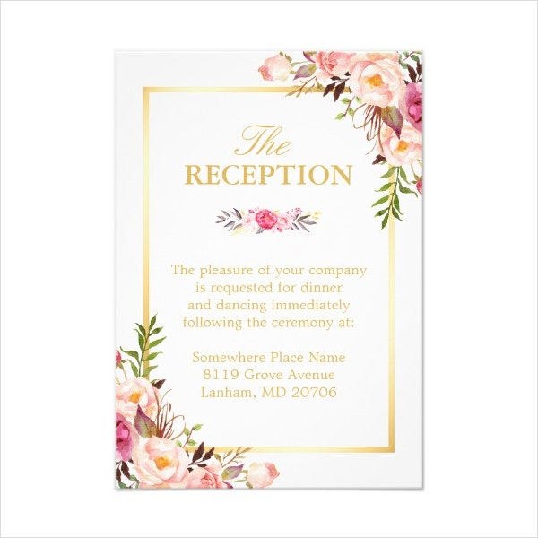 Elegant Floral Wedding Reception Card