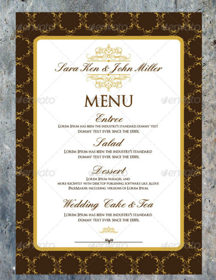 elegant psd reception menu card template