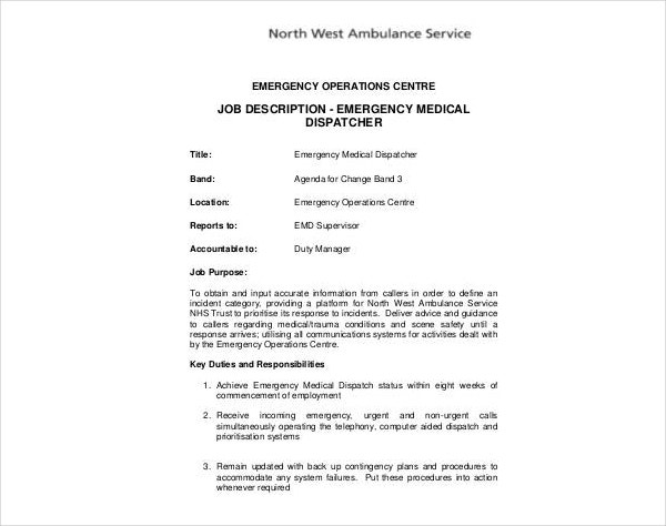 emergency medical dispatcher job description
