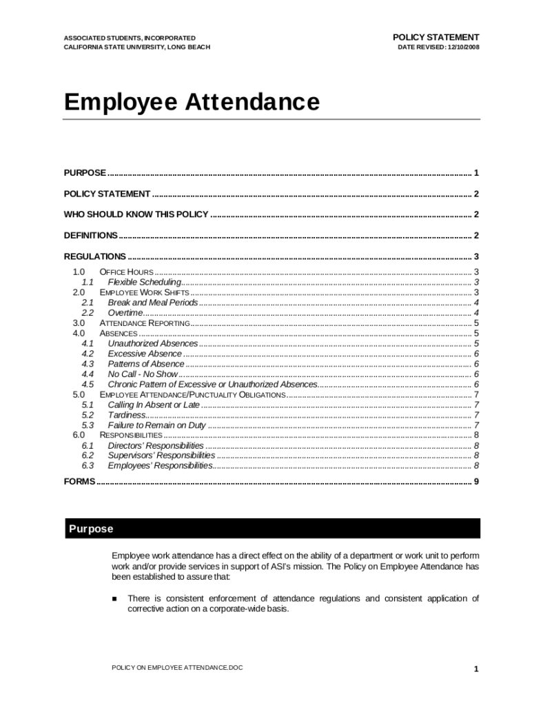 Employee Attendance Policy Sample