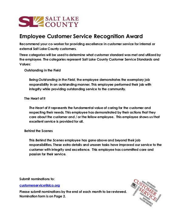 Employee Customer Service Recognition Award
