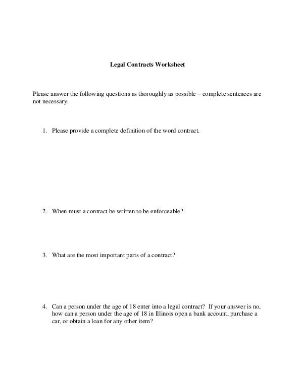 Employee Legal Contract Worksheet