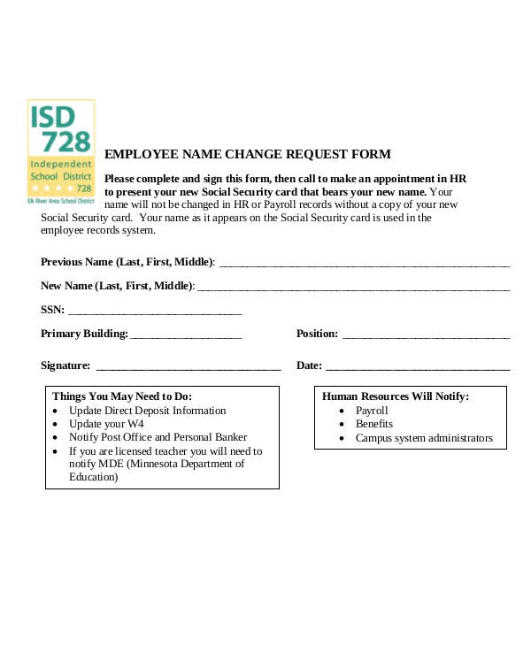 Employee Name Change Request Form