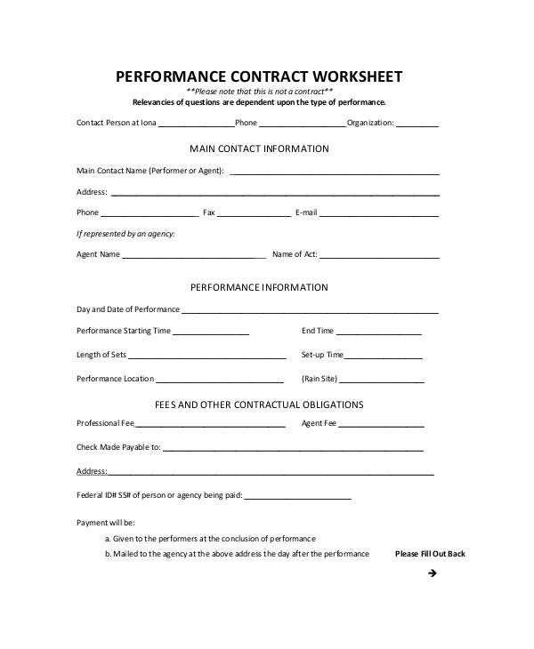 Employee Performance Contract Worksheet