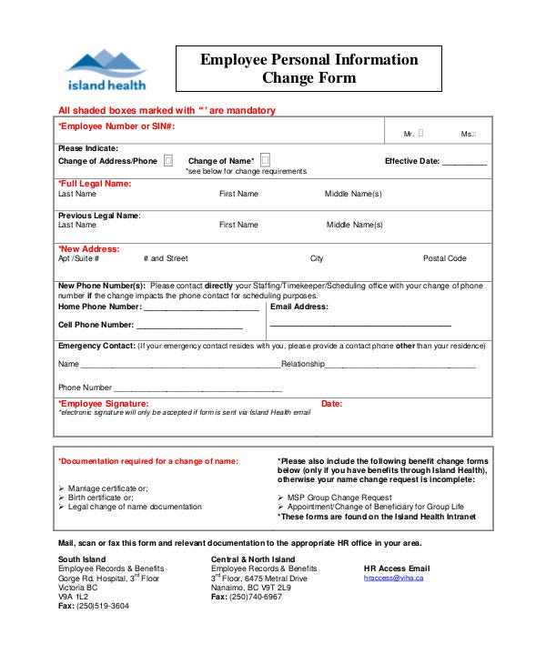 employee personal information change form