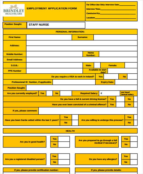 employment application form for nurse