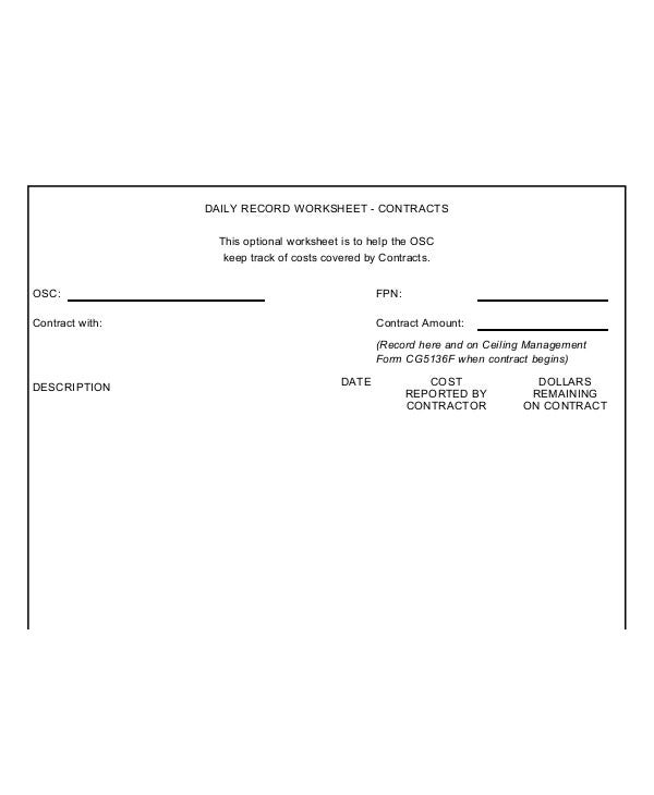 Employment Daily Record Contract Worksheet