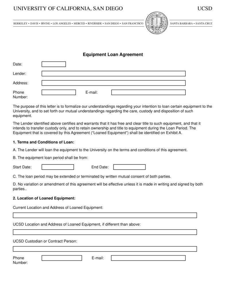 6 Equipment Loan Agreement Templates Pdf Word Free