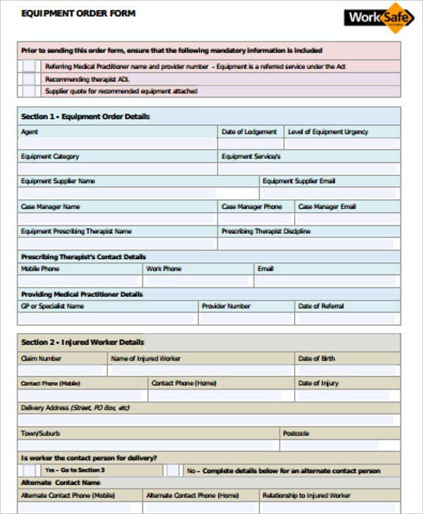 equipment order form in pdf