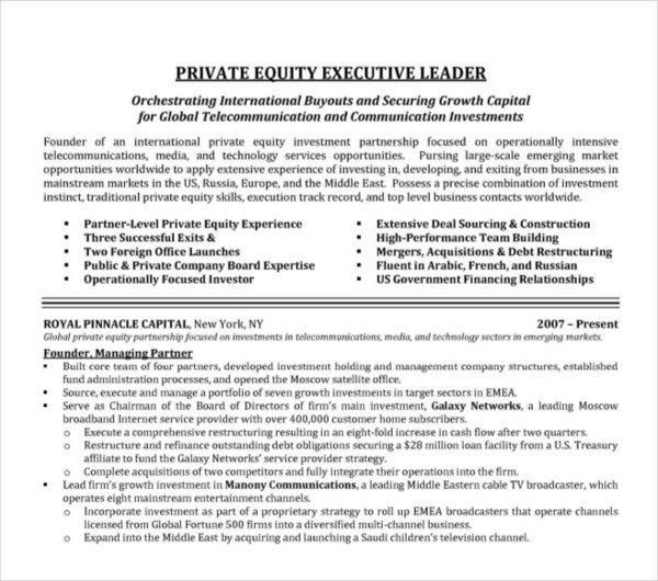equity executive resume