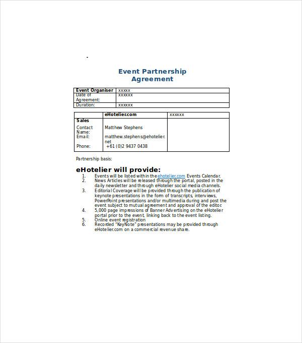 event partnership agreement