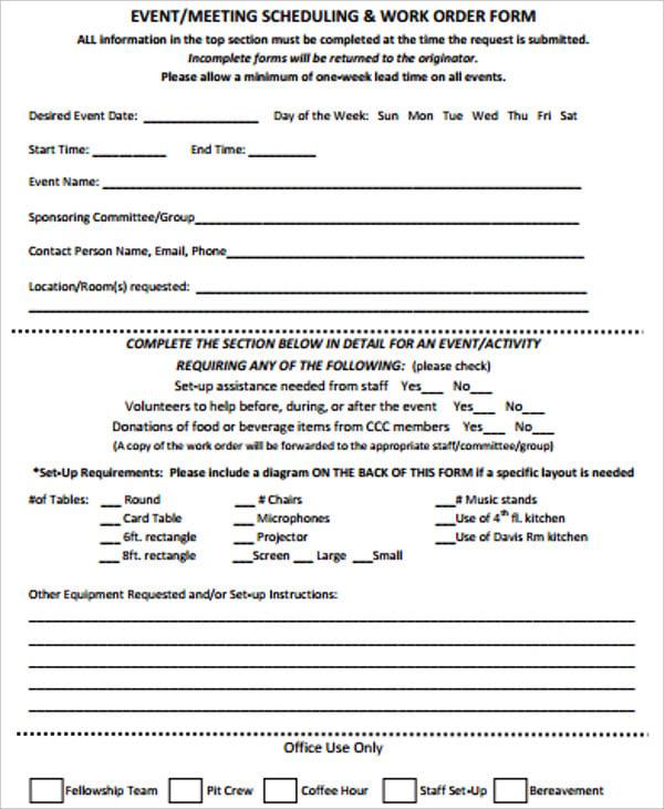 event scheduling work order form
