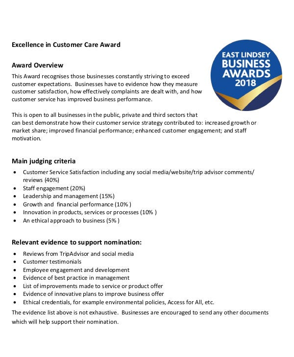 Excellence in Customer Care Award