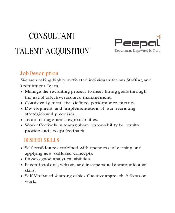 expert talent acquisition consultant job description