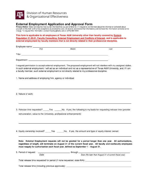 External Employment Application and Approval Form