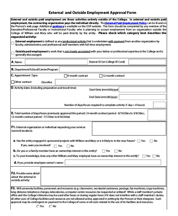 External and Outside Employment Approval Form