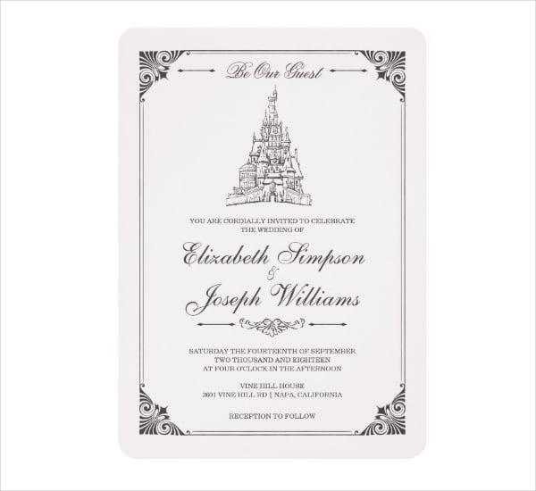 Fairy Tale Castle Wedding Card Invitation